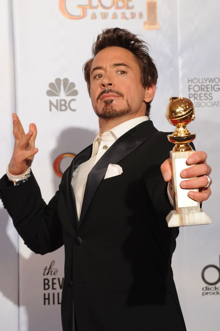 BEVERLY hILLS, CA - JANUARY 17:  Actor Robert Downey Jr., winner of the Best Actor in a Motion Picture Comedy or Drama poses in the press room at the 67th Annual Golden Globe Awards held at The Beverly hilton hotel on January 17, 2010 in Beverly hills, California.  (Photo by Kevin Winter/Getty Images) *** Local Caption *** Robert Downey Jr.